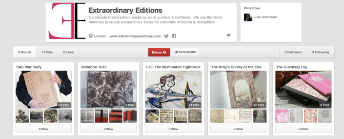 Here, a publishing client is using pinterest to share illustrations from their books.